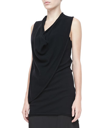 Asymmetric Cowl-Neck Wool-Cashmere Top