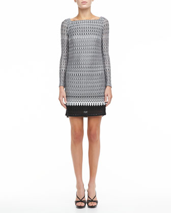 Long-Sleeve Combination Stitch Knit Dress, Black/White