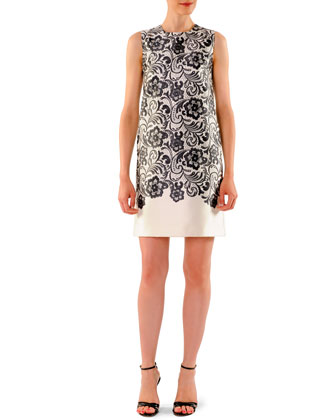 Sleeveless Lace-Print Shift Dress
