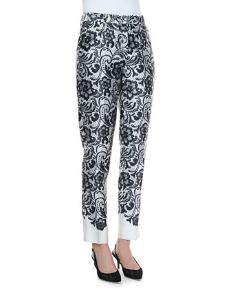 Lace-Print Duchesse Pants