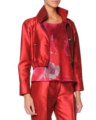 Cropped Mikado Blouson Jacket
