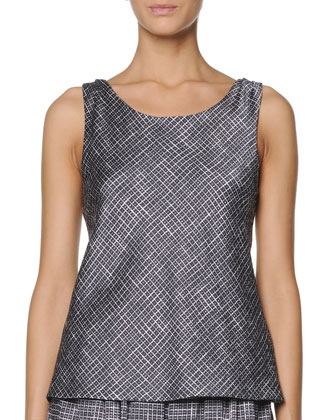 Sleeveless Printed Seersucker Top