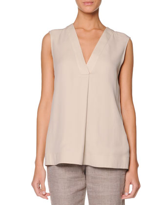 Sleeveless Pleat-Front Top