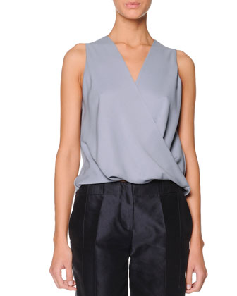 Sleeveless Faux-Wrap Blouse