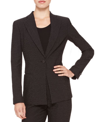Dotted-Jacquard Single-Button Blazer & Straight-Leg Pants
