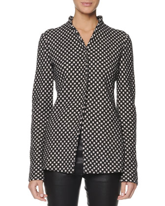 Jacquard Check Snap Jacket and Seamed Leather Zip Leggings