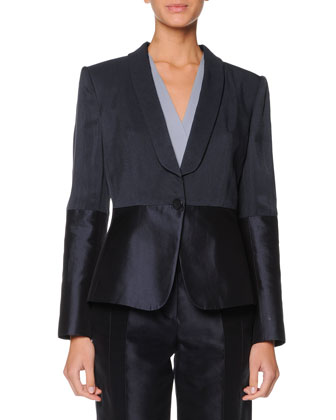 Single-Button Combo Blazer, Faux-Wrap Blouse & Tapered Mikado Pants