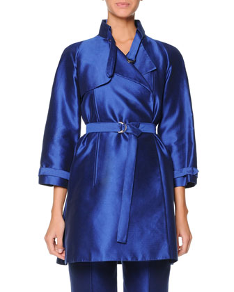 Silk Mikado Short Trench