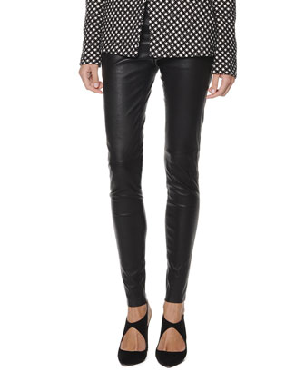 Seamed Leather Zip Leggings