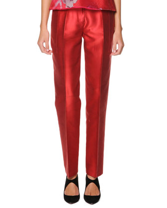 Tapered Silk Mikado Pants