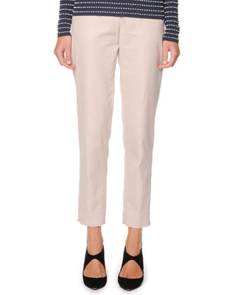 Washed Poplin Ankle Pants