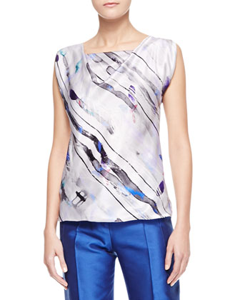 Bias-Cut Printed Silk Blouse, Gray/Multi