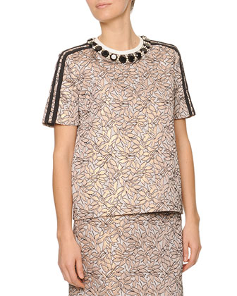 Jewel-Neck Jacquard Top