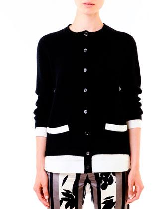 Poplin-Back Knit Cardigan