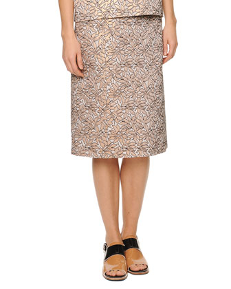 Jewel-Neck Jacquard Top & Pleat-Back Jacquard Skirt