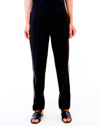 Stud-Neck Jersey Top & Relaxed Tuxedo Pants