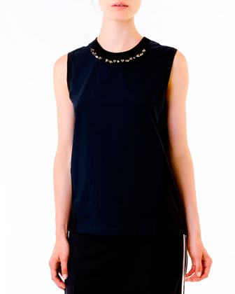 Stud-Neck Jersey Top