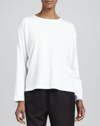 Long-Sleeve Round-Neck Top, Ivory