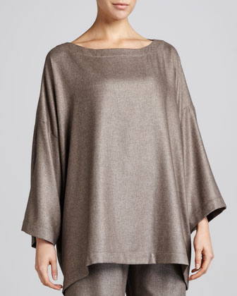 3/4-Sleeve Bateau-Neck Tunic, Bison
