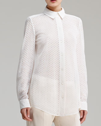 Button-Front Eyelet Blouse, White