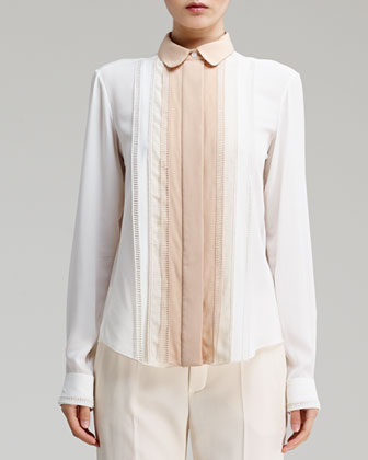 Long-Sleeve Pleat-Front Crepe Blouse, Milk/Natural