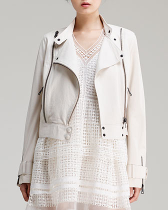 Lightweight Lambskin Leather Jacket & Diamond-Lace Dress