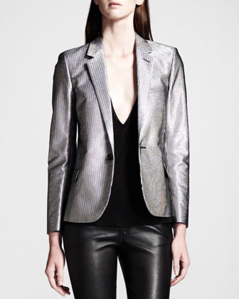 Silver Single-Button Blazer