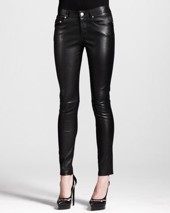 Silver Single-Button Blazer and Skinny Leather Ankle Pants