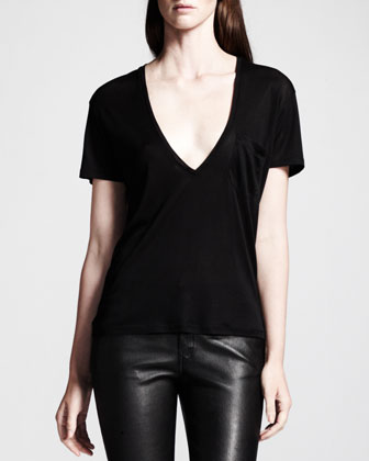 Silk Jersey V-Neck Tee, Black
