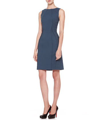 Sleeveless Vertical Piped Sheath Dress, Teal
