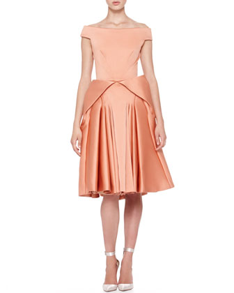 Off-Shoulder Full-Skirt Dress, Light Coral