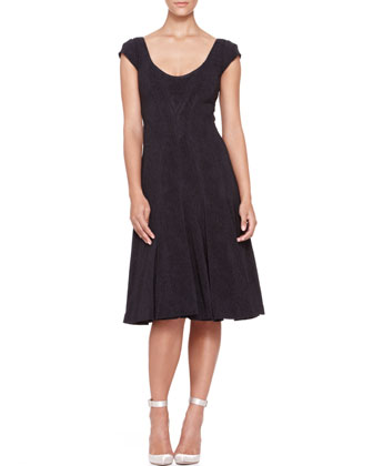 Pleated Cap-Sleeve Dress, Midnight