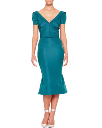 Short-Sleeve Silk Duchesse Dress, Teal