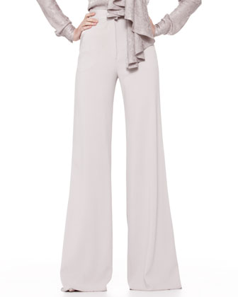 Long-Sleeve Tie-Neck Blouse & High-Waist Wide-Leg Trousers