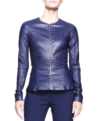 Shiny Leather Peplum Jacket & Straight-Leg Scuba Pants