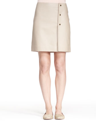 Button-Side Heavyweight Leather Skirt