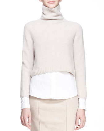 Cropped Merino-Cashmere Turtleneck Sweater