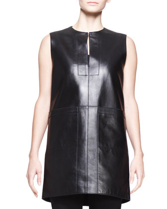 Sleeveless Leather Pocket Tunic