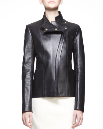 Golden-Trim Leather Jacket and 3/4-Sleeve Scuba Dress