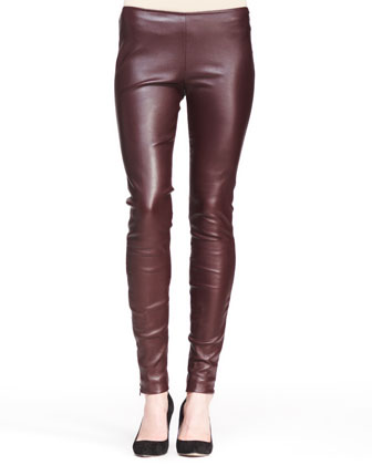 Stretch Leather Skinny Pants, Mahogany