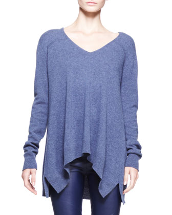 Cashmere Heathered V-Neck Trapeze Sweater