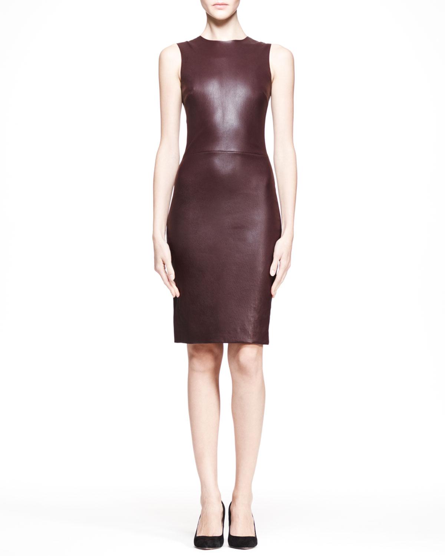 Womens Stretch Leather Sheath Dress, Mahogany   THE ROW   Mahogany (2)