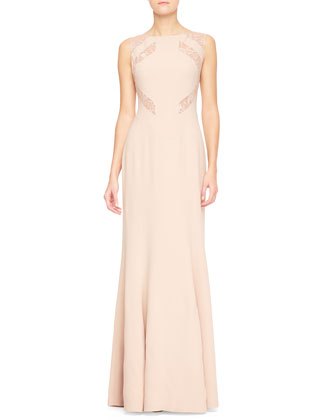 Lace-Cutout Sleeveless Gown