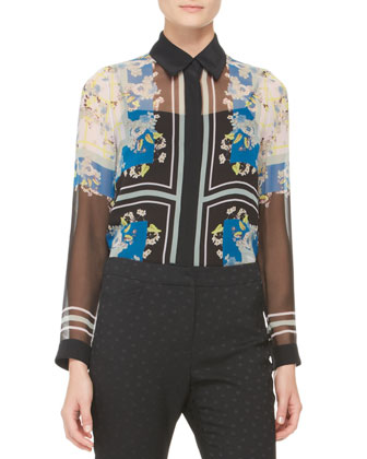 Sheer Mix-Print Blouse and Dotted Slim Trousers