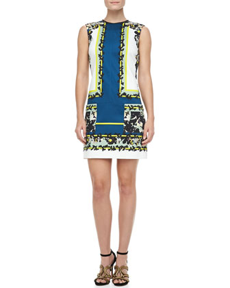 Frula Mixed-Print Shift Dress