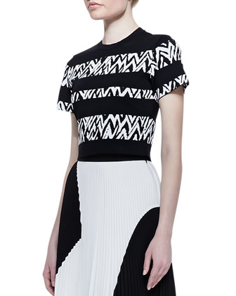 Short-Sleeve Abstract-Stripe Top and Two-Tone Pleated Midi Skirt