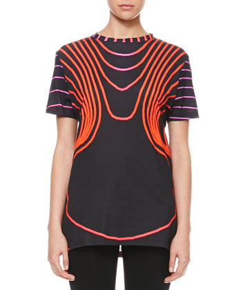 Grid Face Digital T-Shirt, Black/Red/Pink