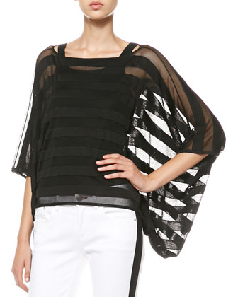 Sheer Striped Drape Top