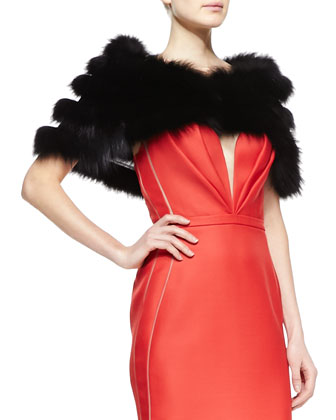Strapless Bustier Gown, Siren Red & Cropped Shadow Fox Fur Stole, Black ...