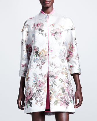 Floral Embroidered Coat, Marocain Silk Tie-Neck Blouse & Shorts